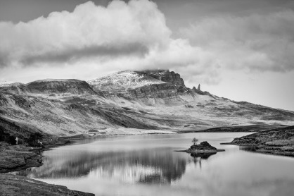 Across Loch Fada to the Old Man of Storr Isle of Skye